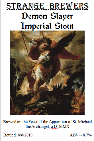 The Demon Slayer Imperial Stout MMXI Label